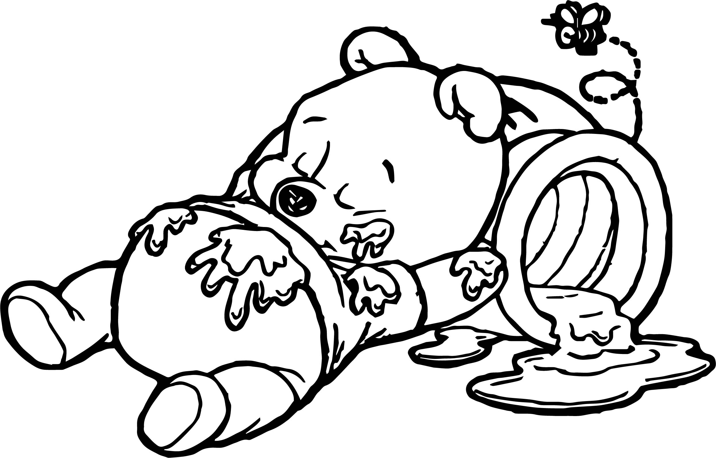 Sleep Baby Pooh Honey Coloring Page