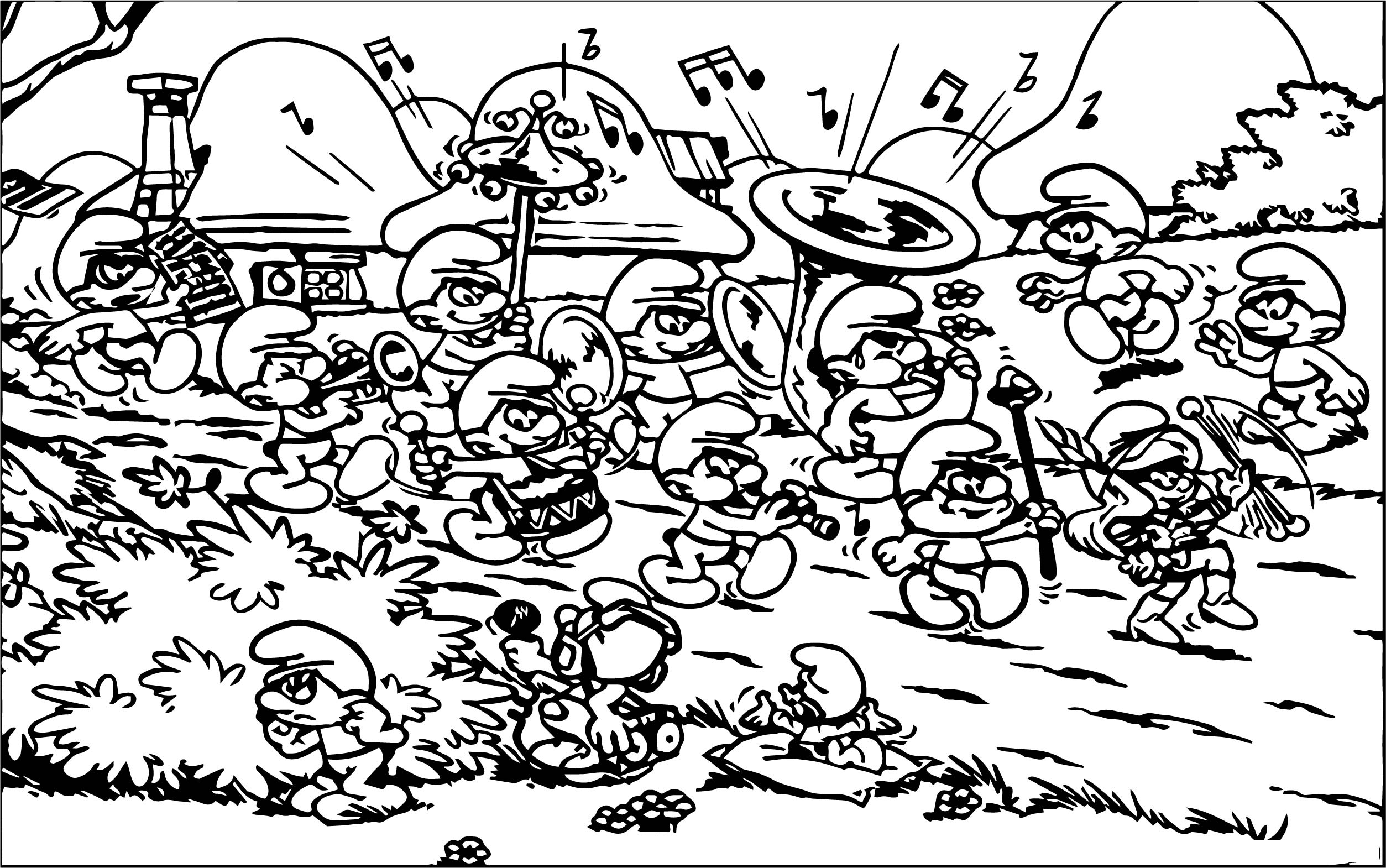The Smurfs Smurf Village Song Coloring Page Wecoloringpage