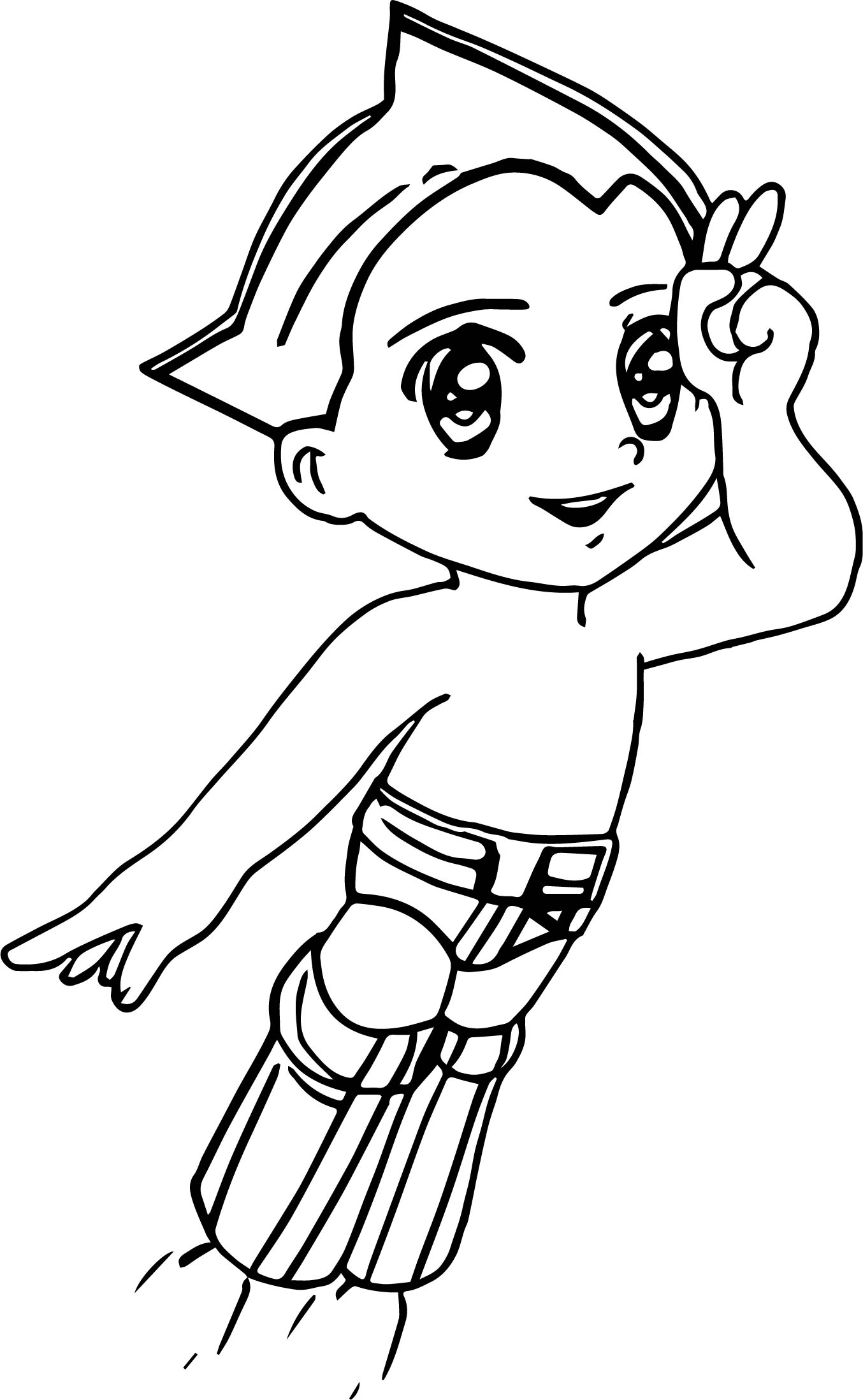 Astroboy Flying Coloring Page