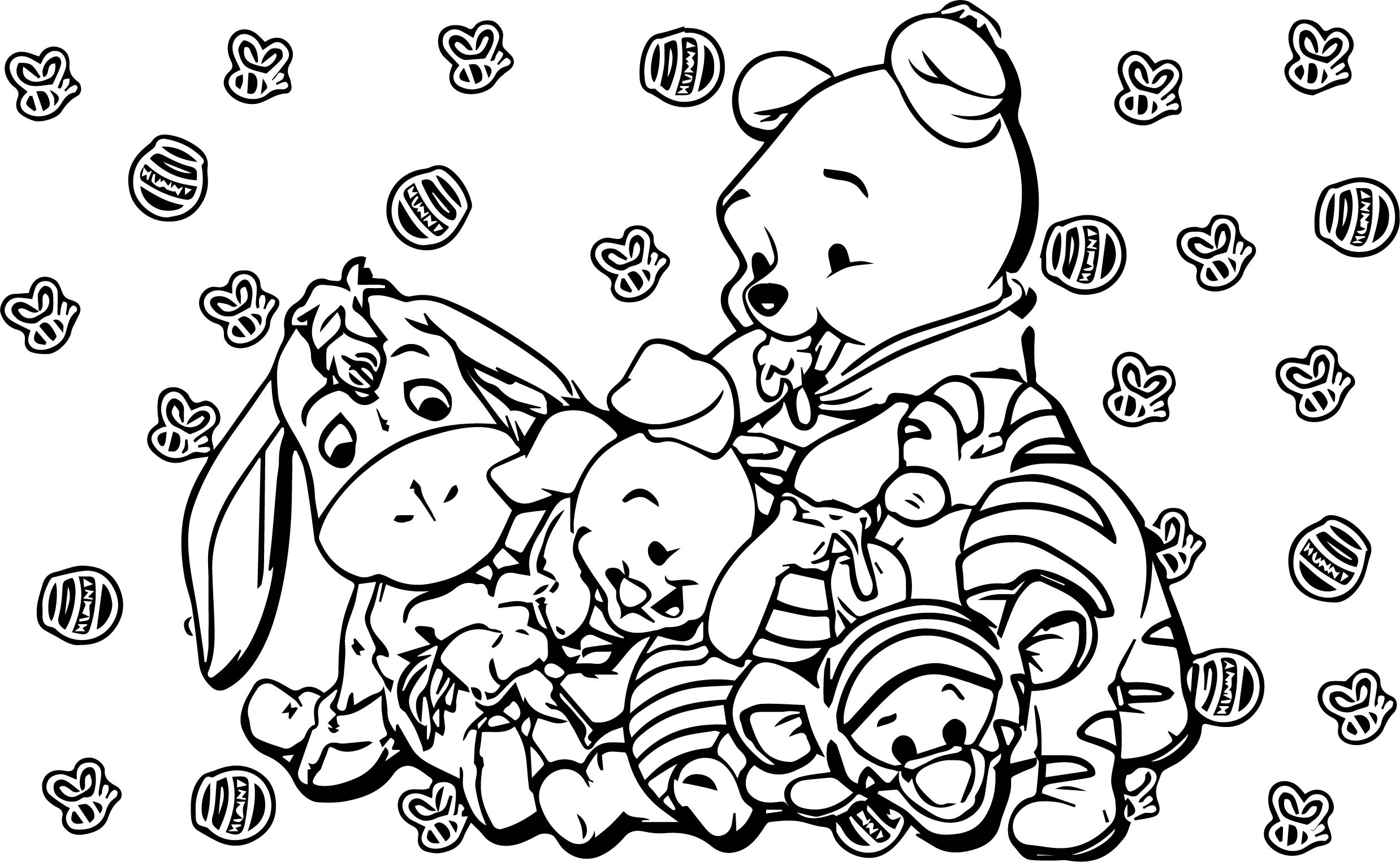Baby Piglet Winnie The Pooh Honey Eating Coloring Page