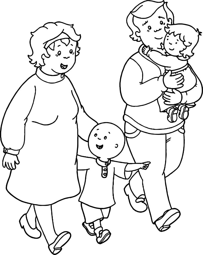 caillou family coloring page  wecoloringpage