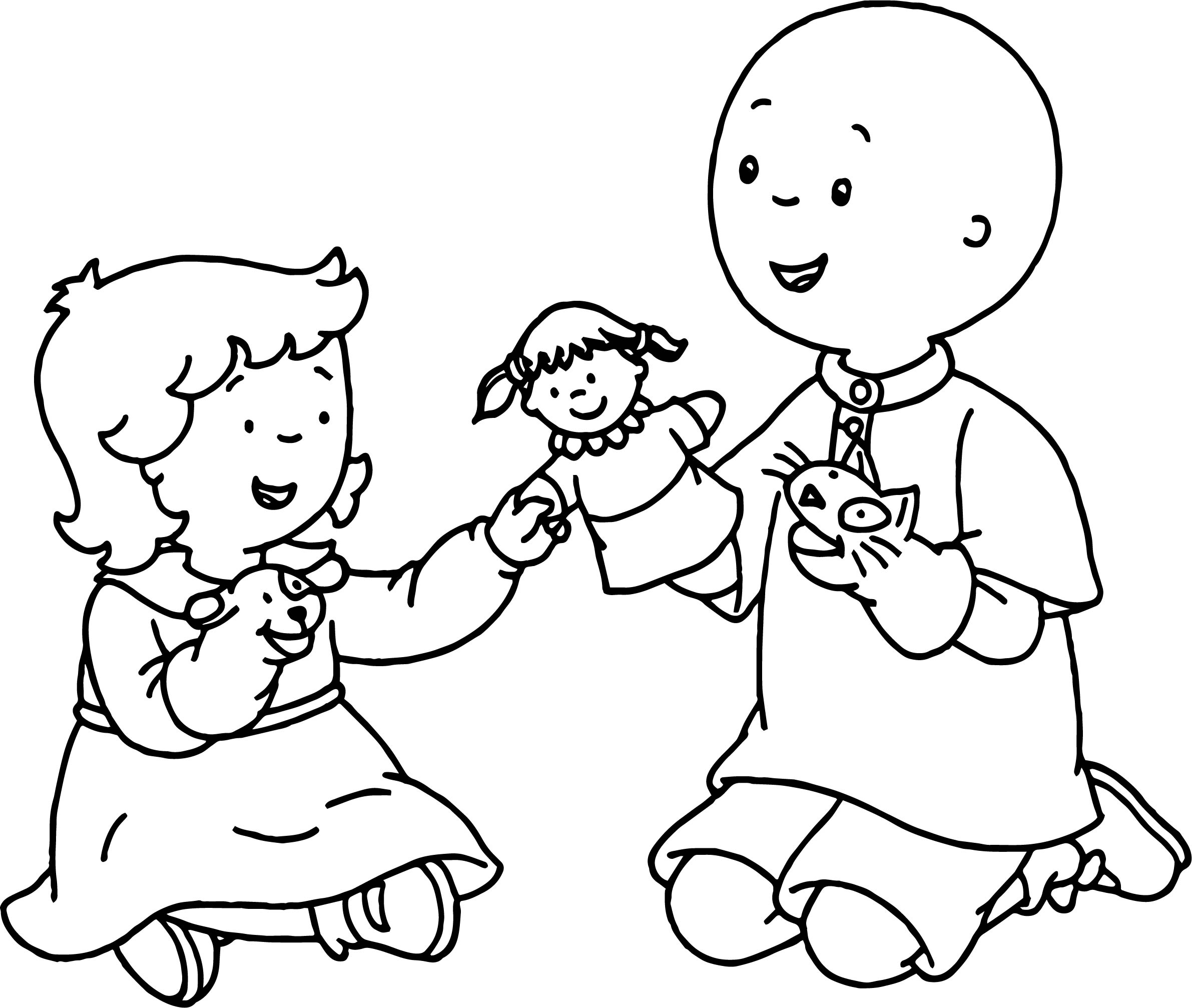 Caillou Rosie Play Coloring Page