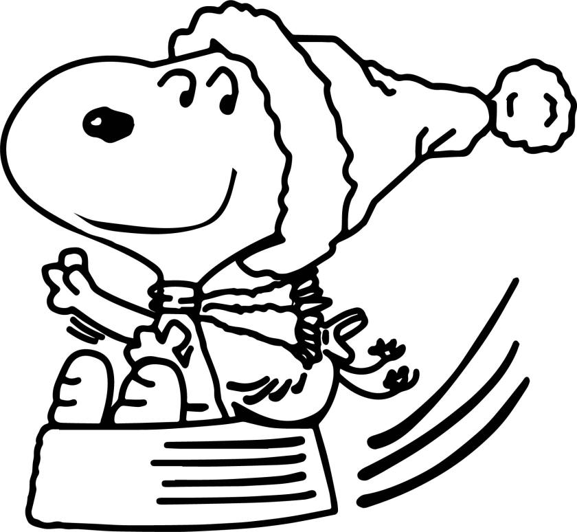 snoopy christmas sleigh coloring page  wecoloringpage