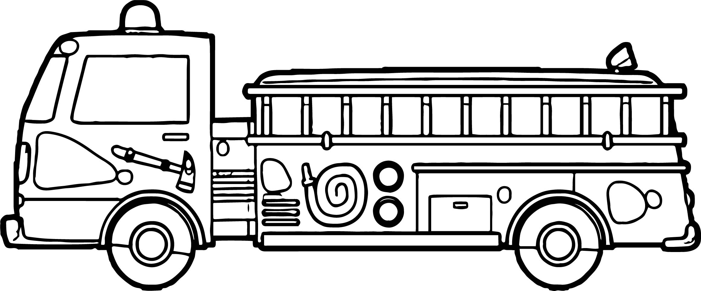Fire Truck Tall Side Coloring Page