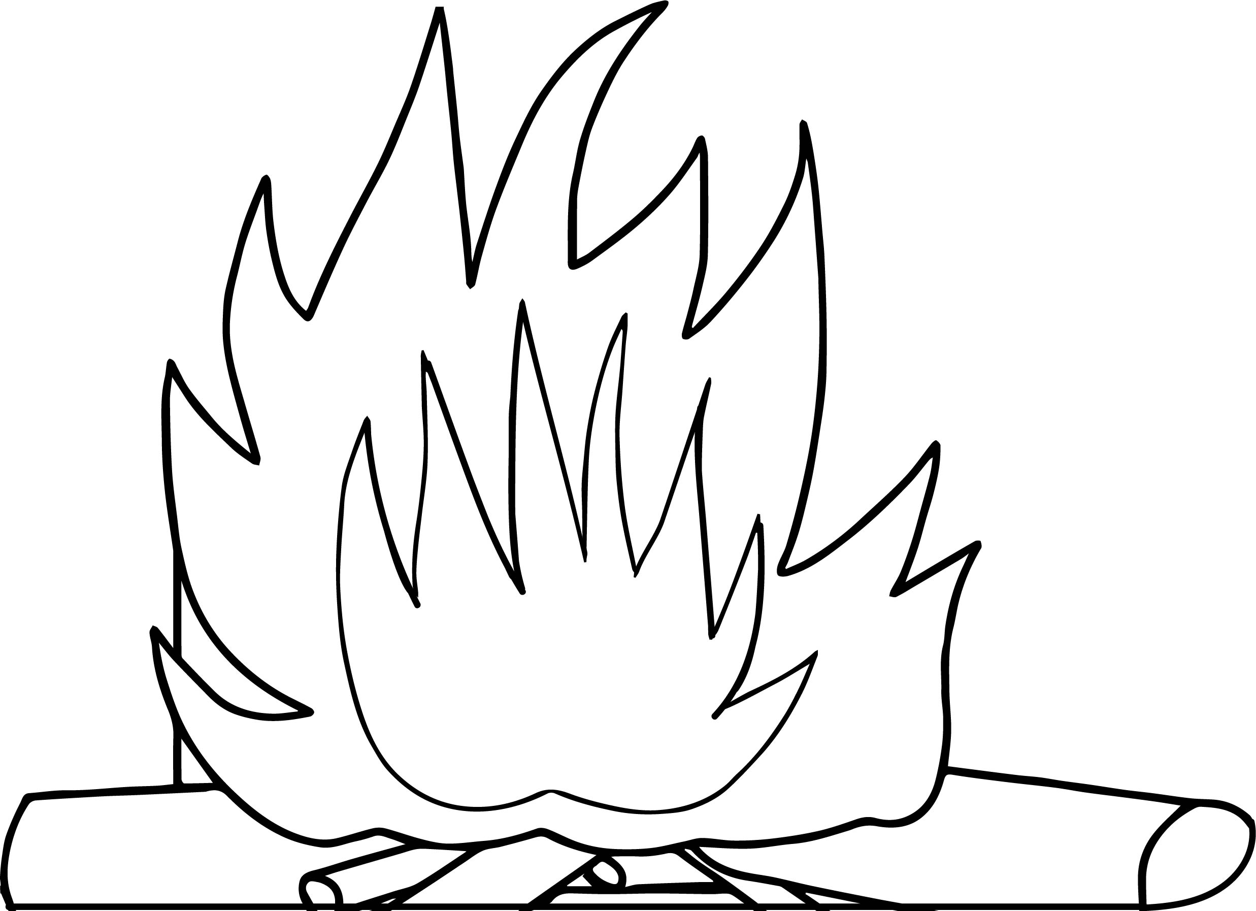 Fire With Logs Camping Coloring Page