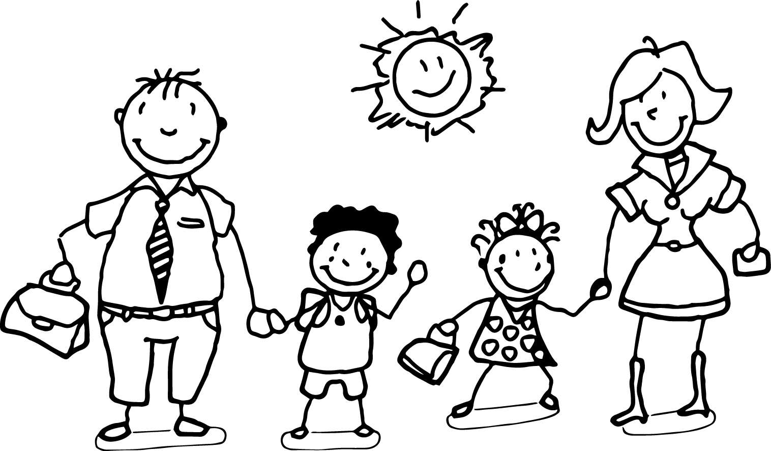 Happy Family And Children Coloring Page