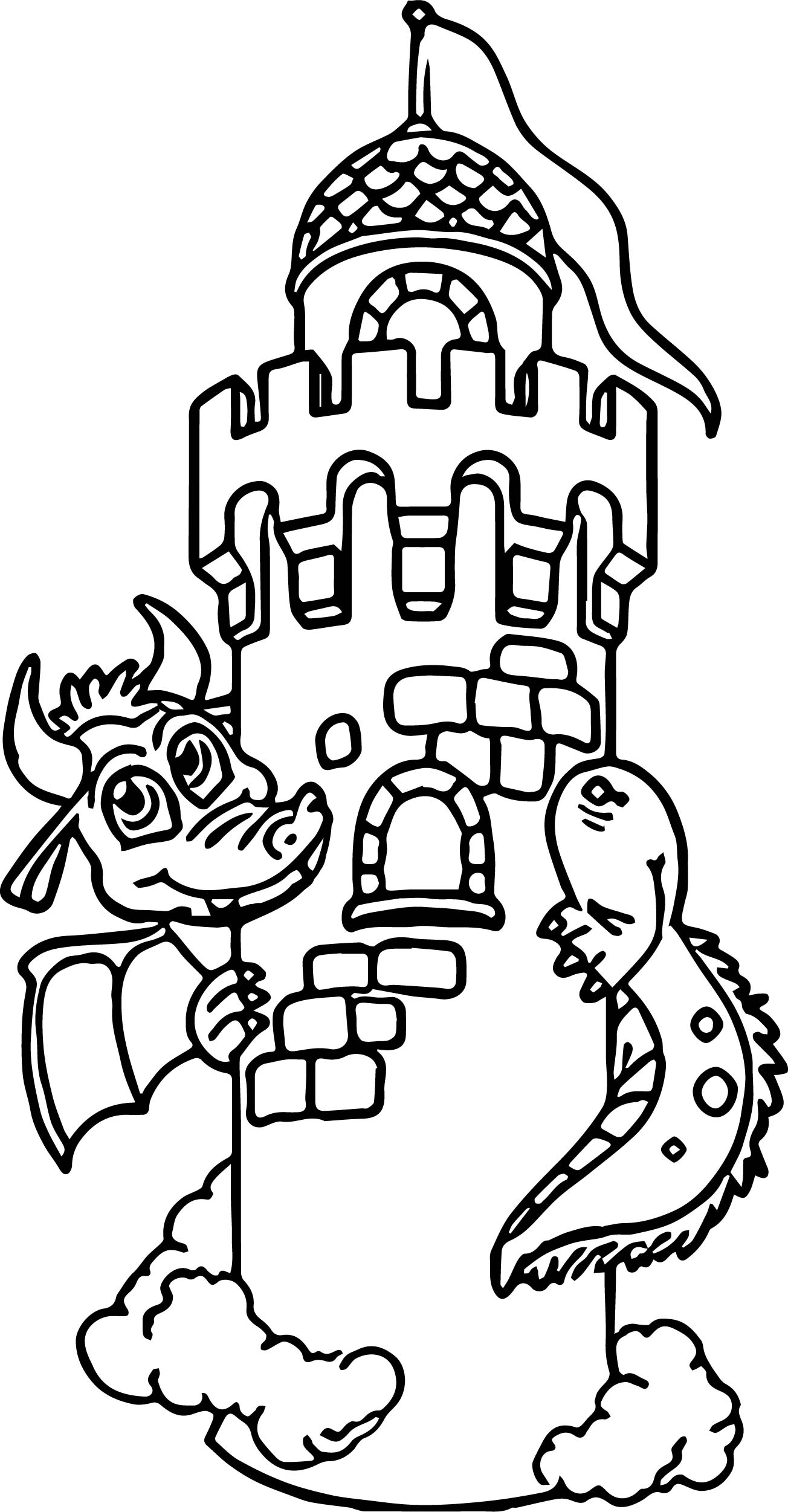 Dragon Around Castle Coloring Page
