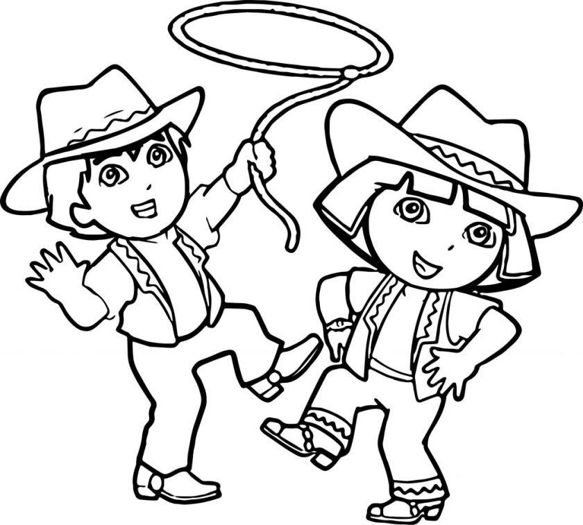 go diego go and dora cowboy coloring page  wecoloringpage