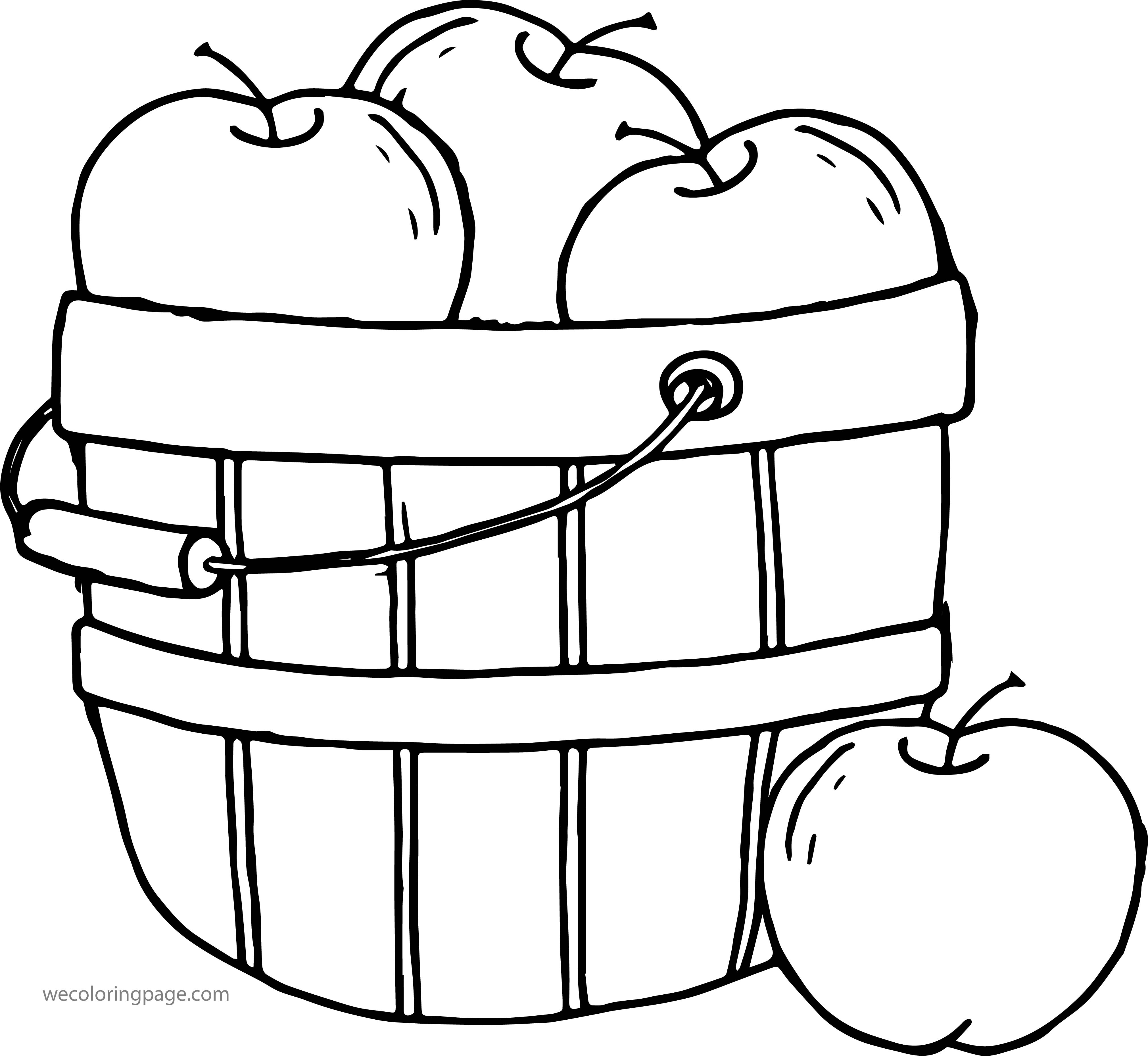 Apple Bucket Coloring Page