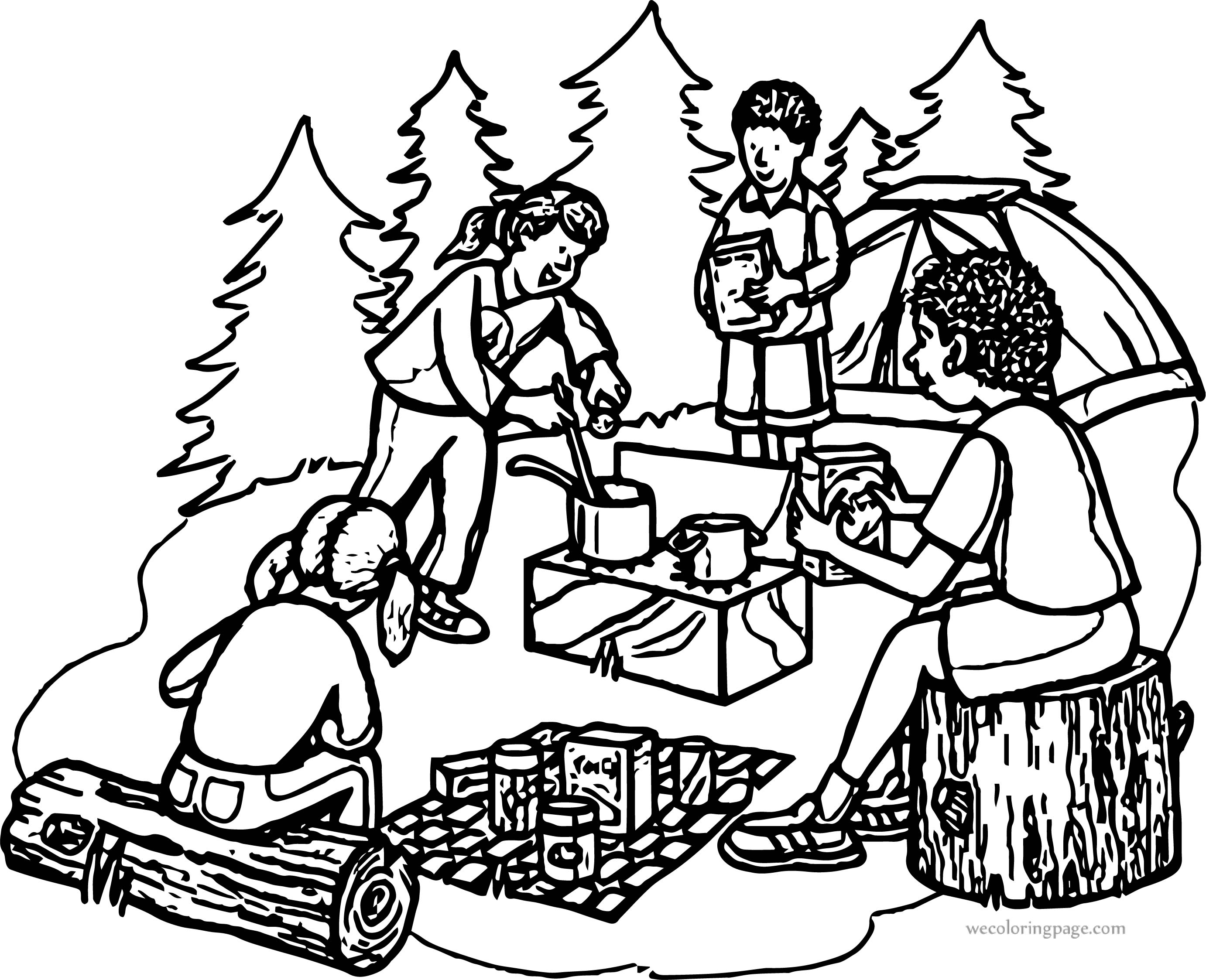 Cooking Camping Coloring Page
