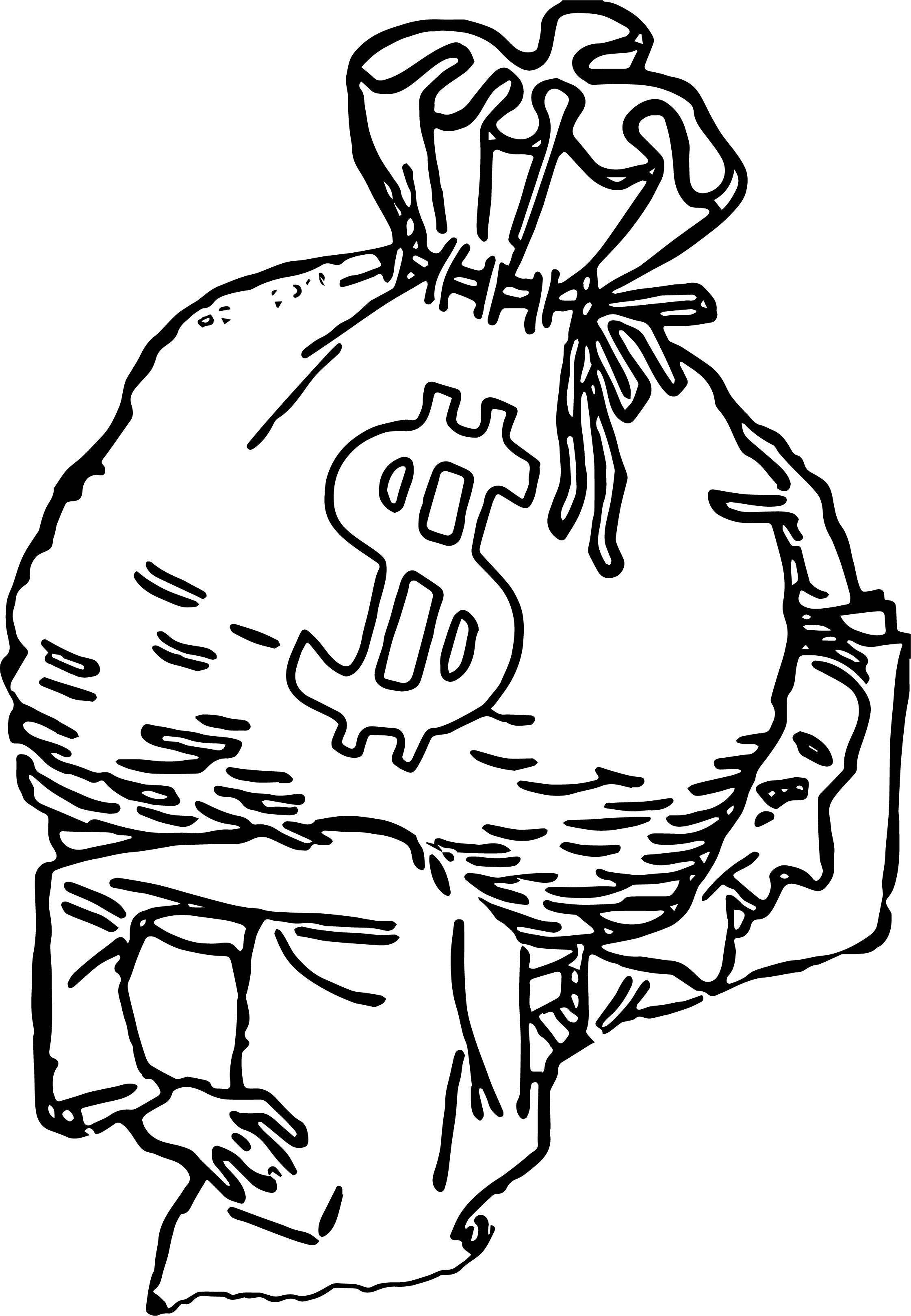 Big Bag Of Money Coloring Page Outline Wecoloringpage