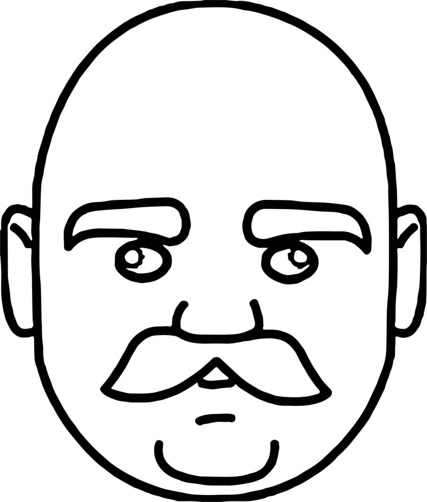 tn face of bald headed man  mustache coloring page