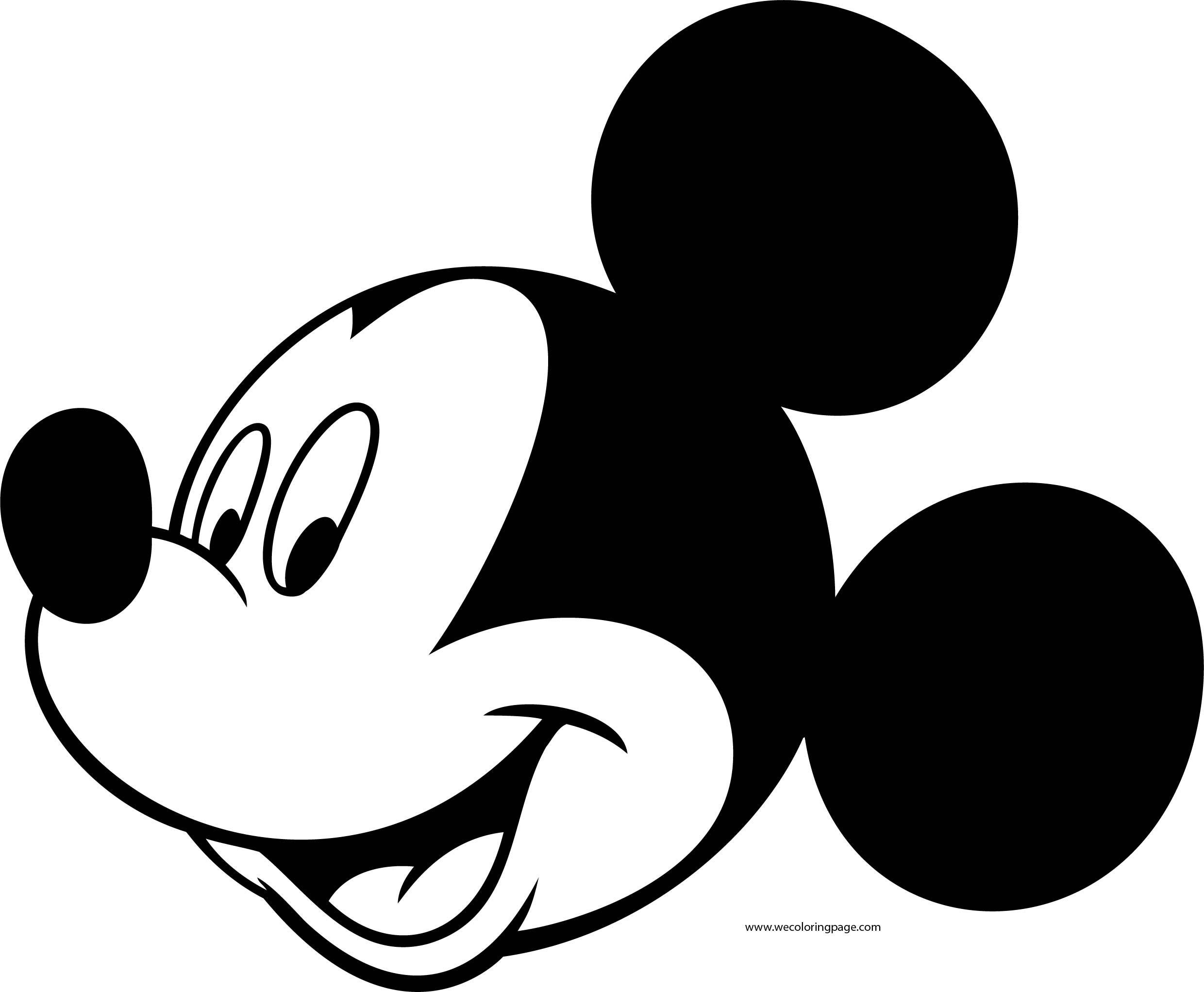 Disney Mickey Face Side Coloring Page