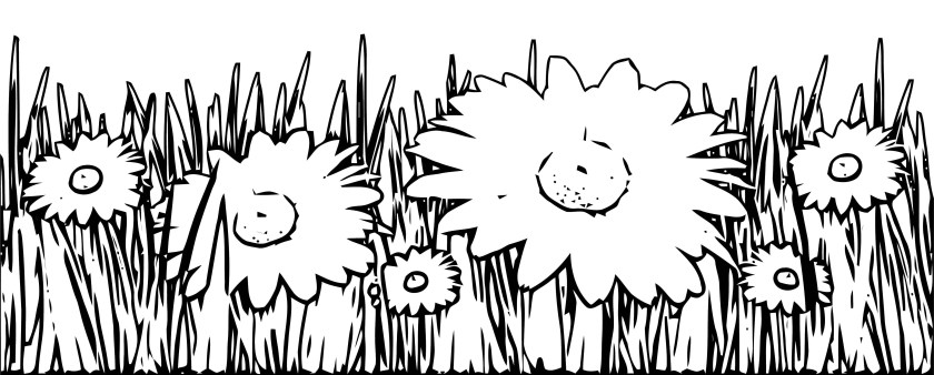grass and white flowers coloring page  wecoloringpage