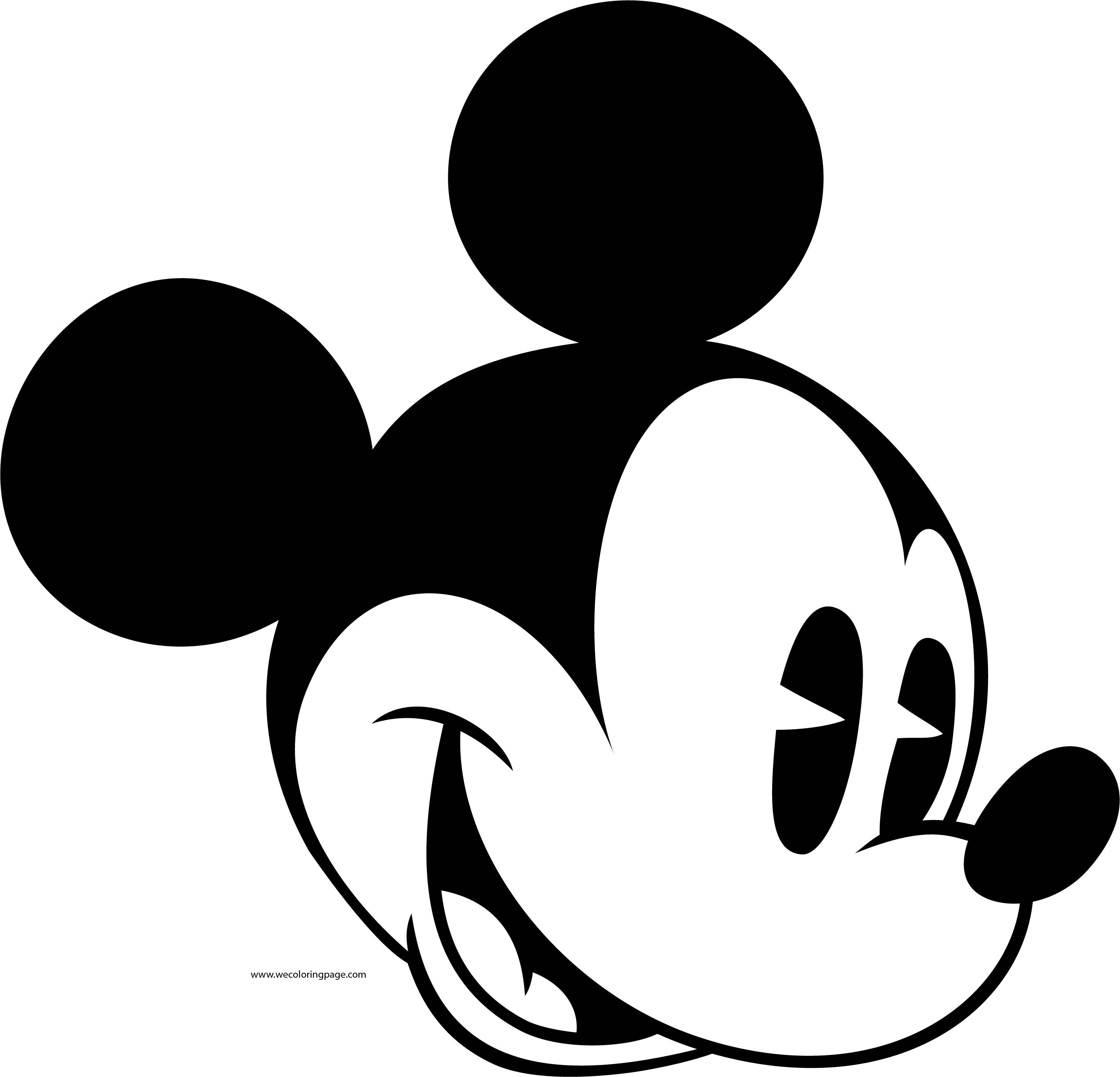 Old Mickey Mouse Face Coloring Page 2
