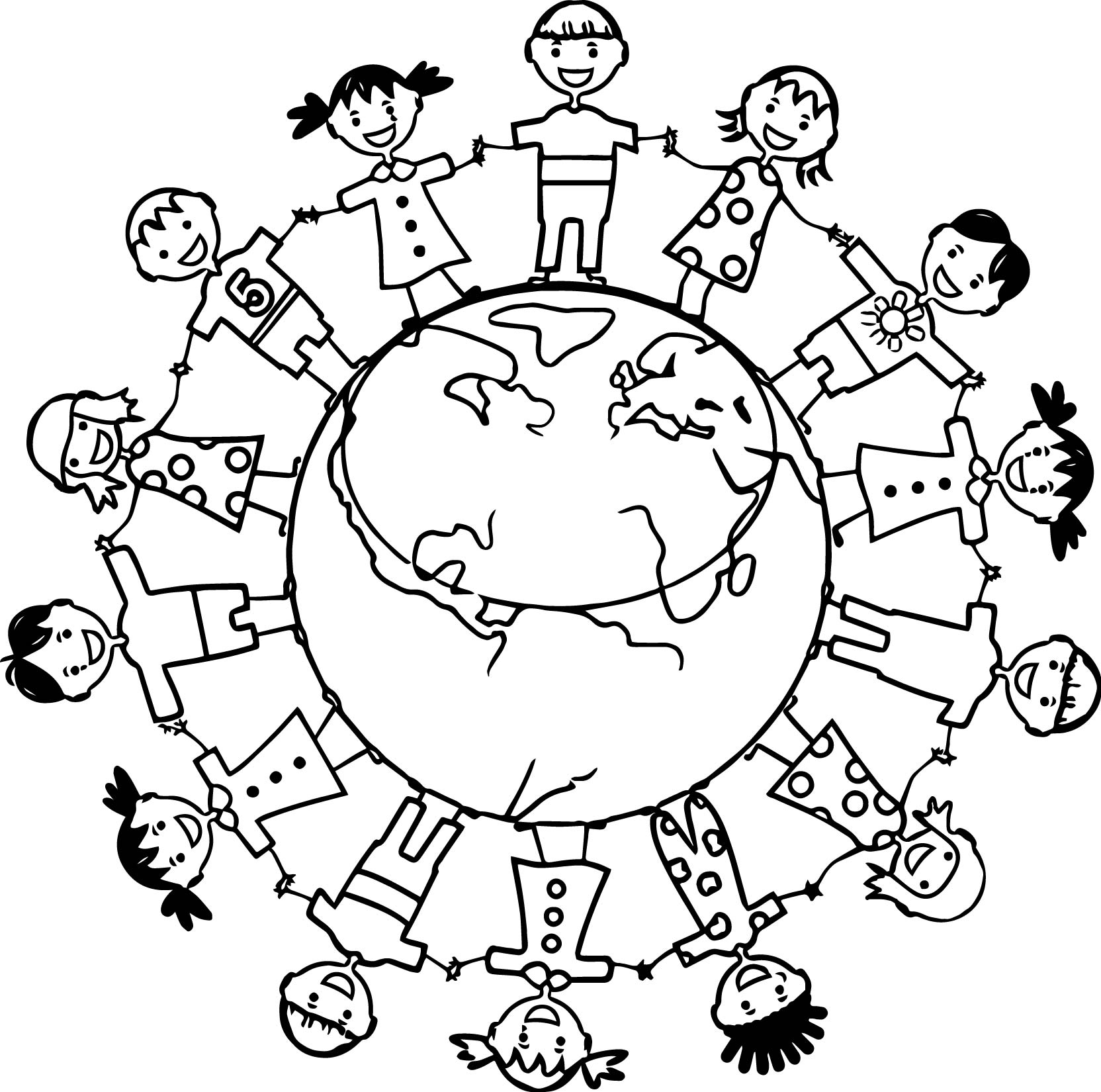 Word Kids Earth Globe Coloring Page