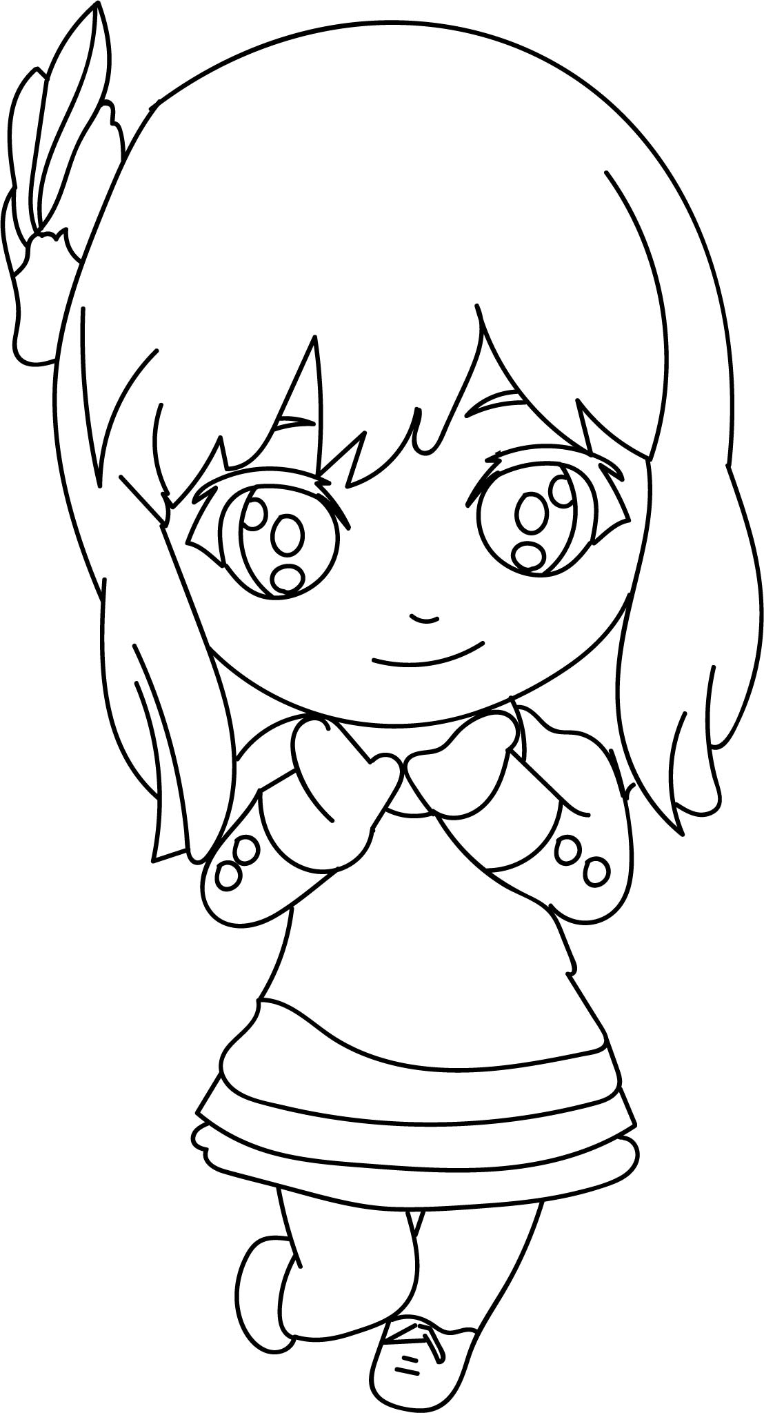 Repunzel Coloring Pages Cute Chibi Girl