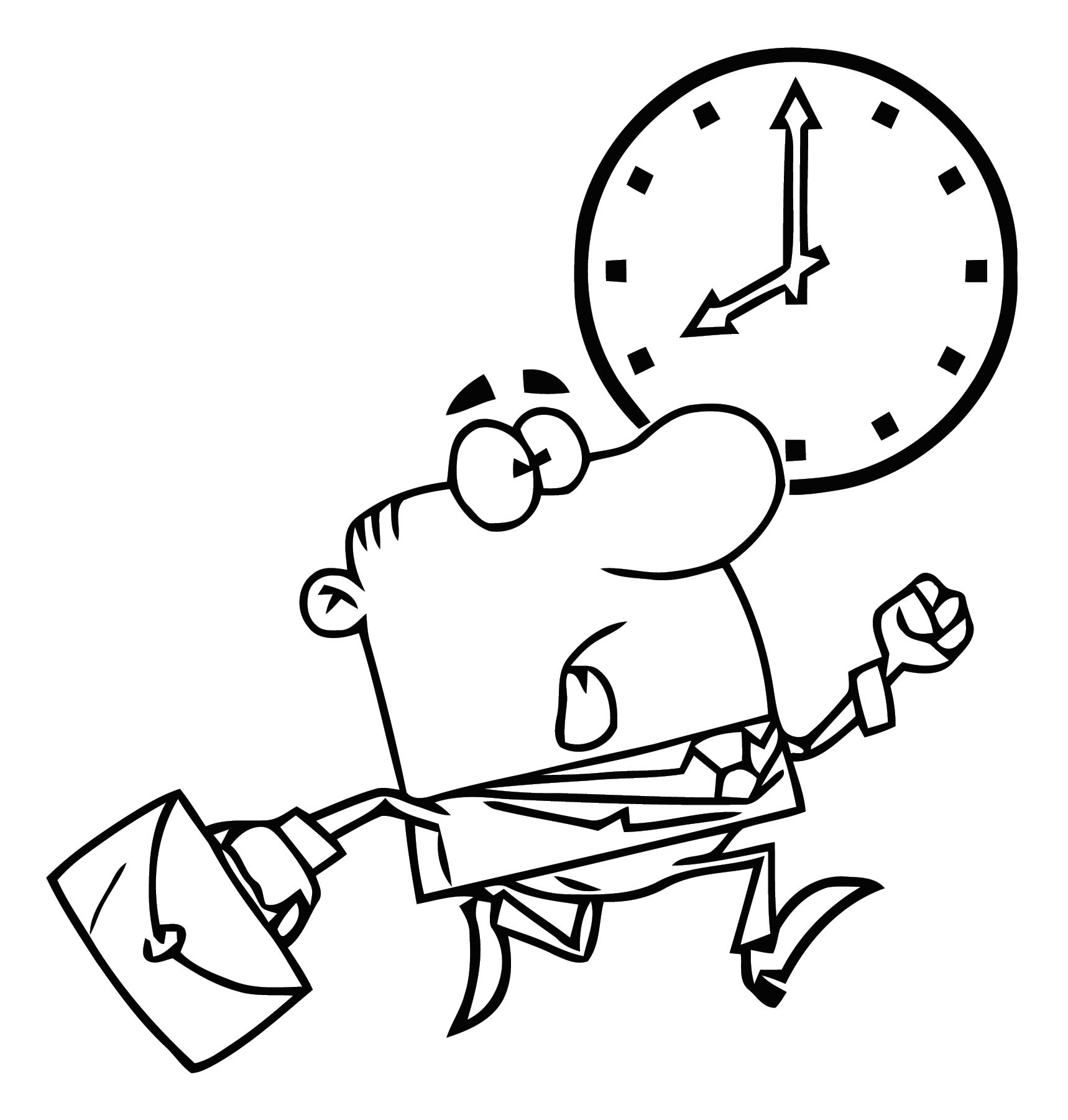Clipart Image Business Man Racing The Clock To Get Work On