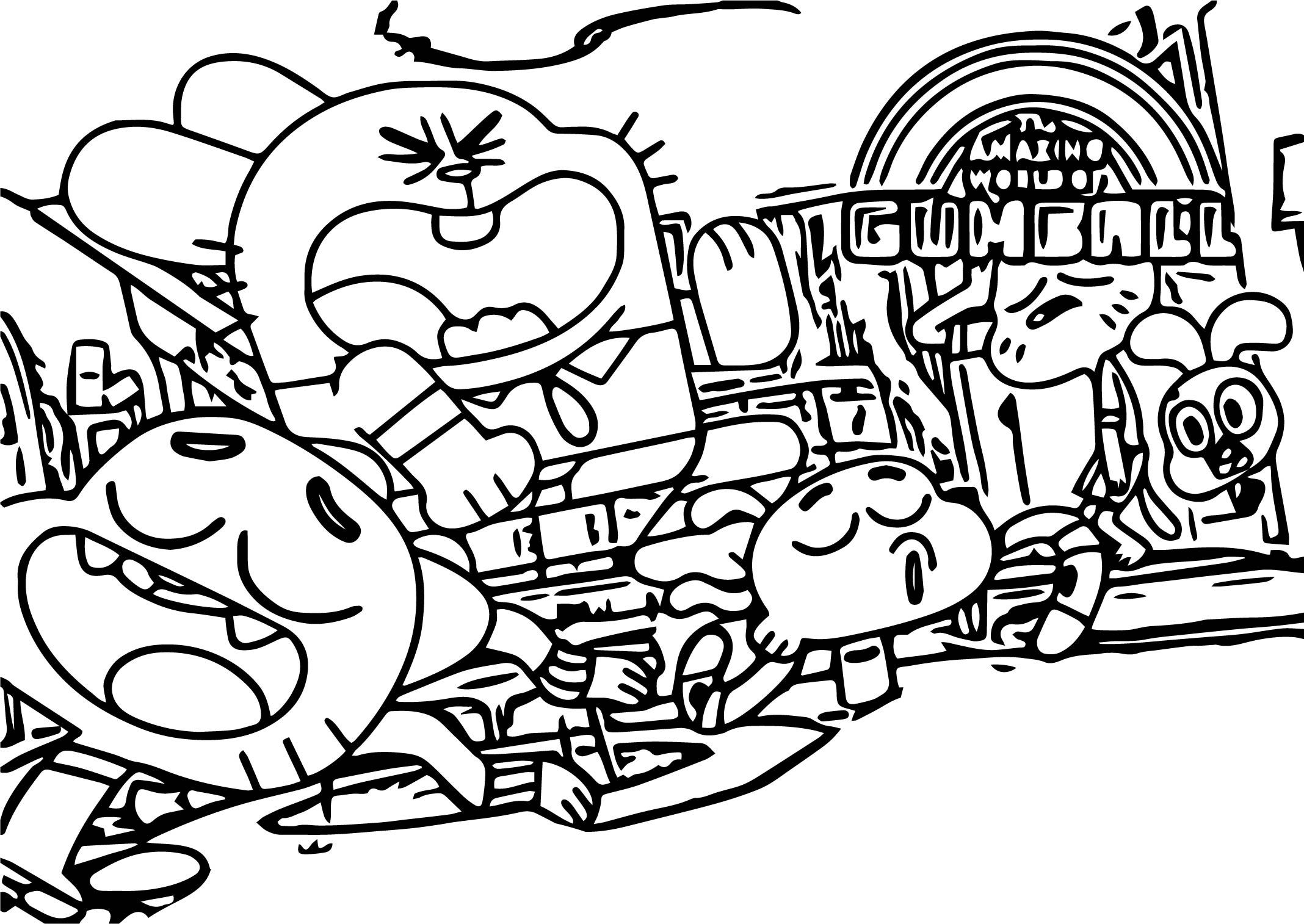 Gumball Joy Family Coloring Page