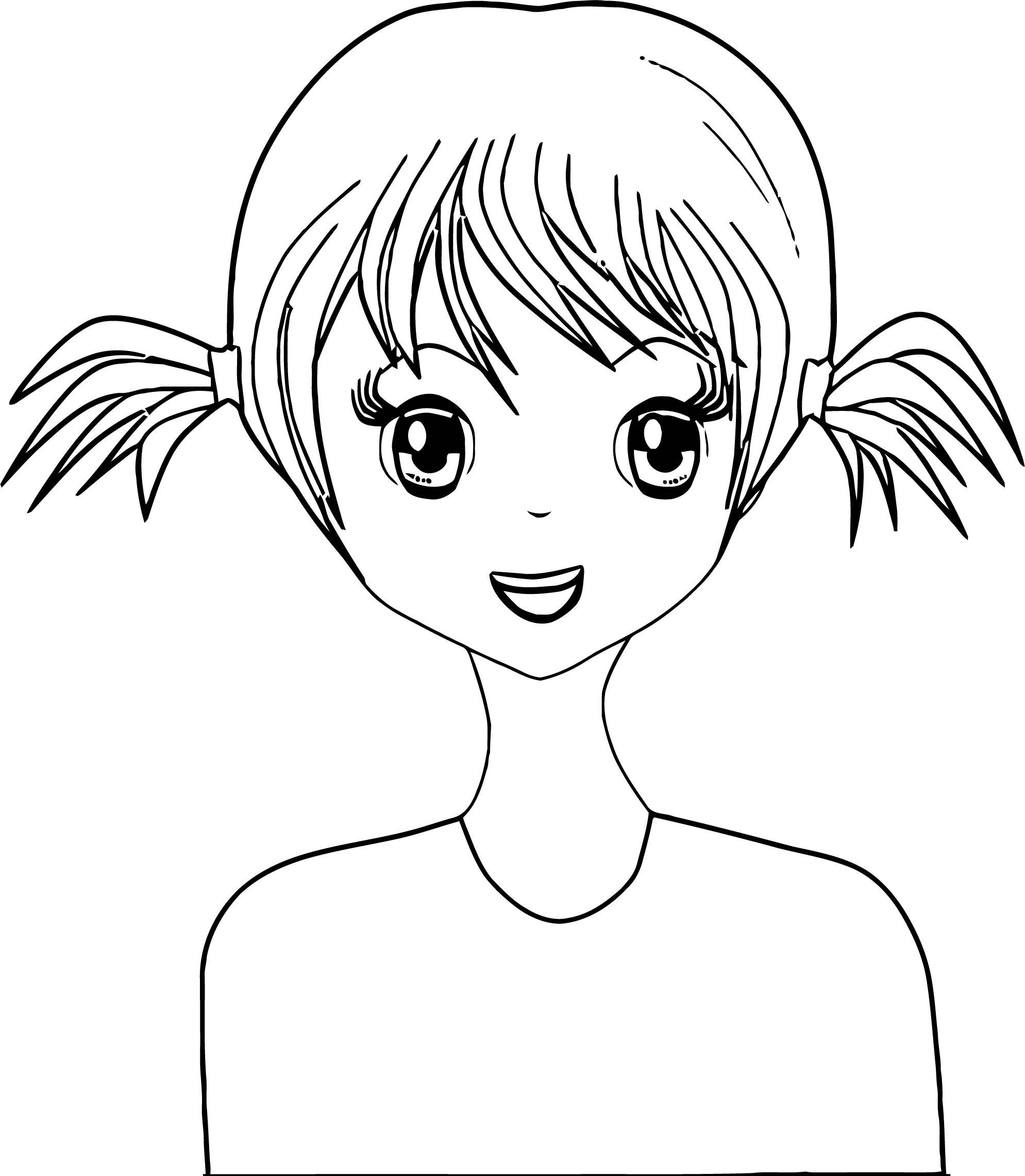 Cute Basic Hair Girl Manga Coloring Page