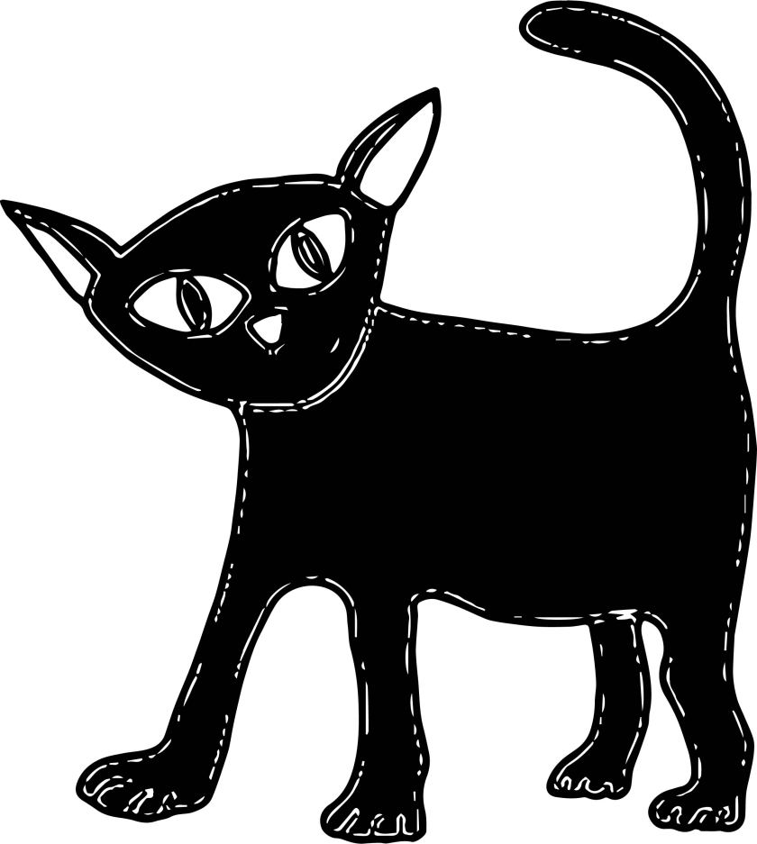 cute halloween cat black coloring page  wecoloringpage