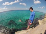 Chris and his Mom enjoying the turquoise waters