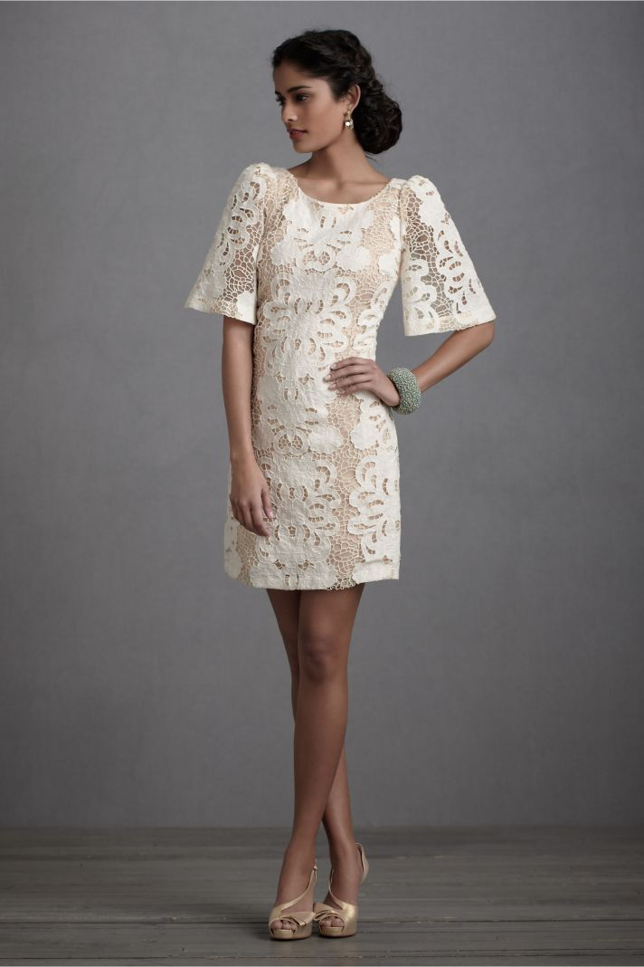 vintage inspired bride lace LWD for wedding reception by BHLDN