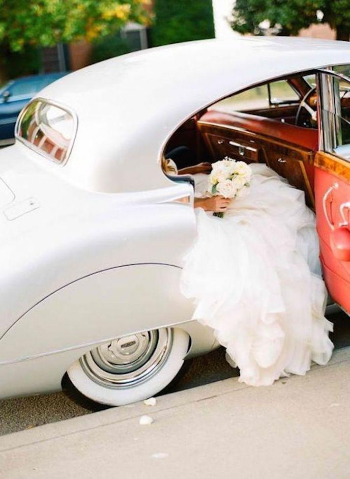 Wedding Dress in a Vintage Car