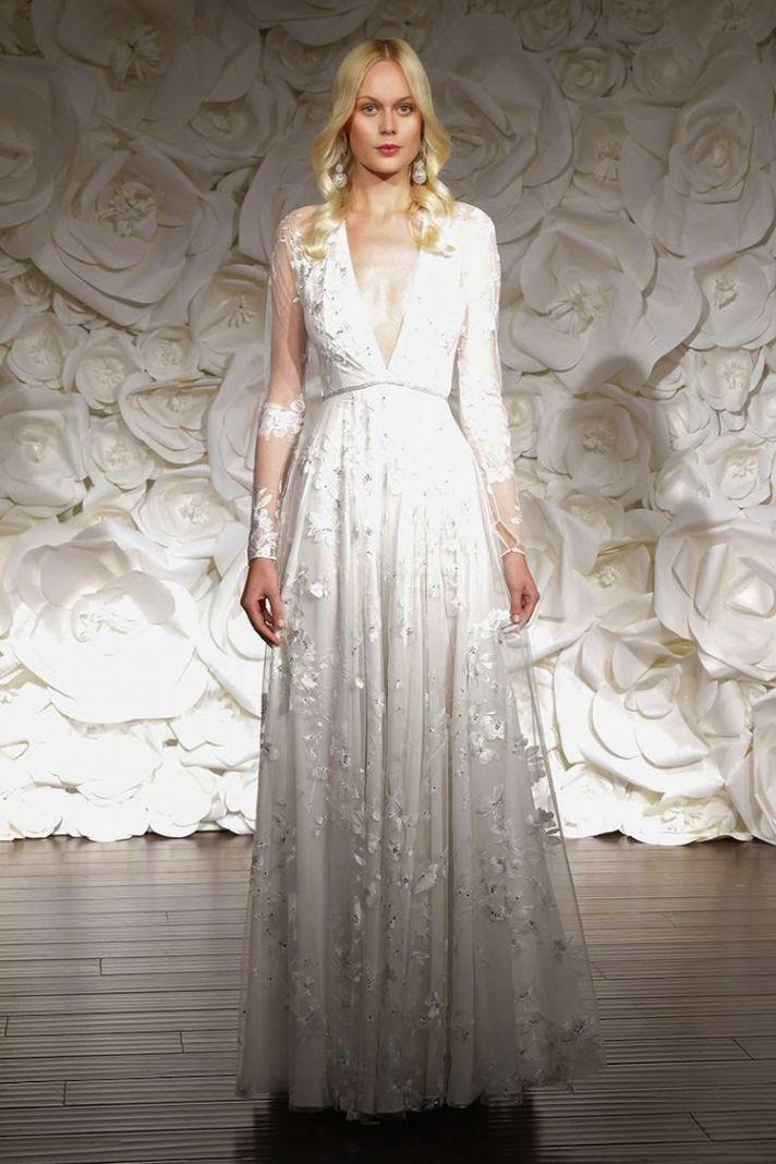 Long Sleeve Deep V Wedding Dress