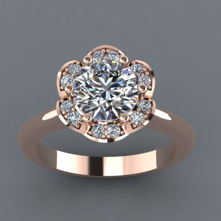 Rose Gold Engagement Ring with Moissanite stones