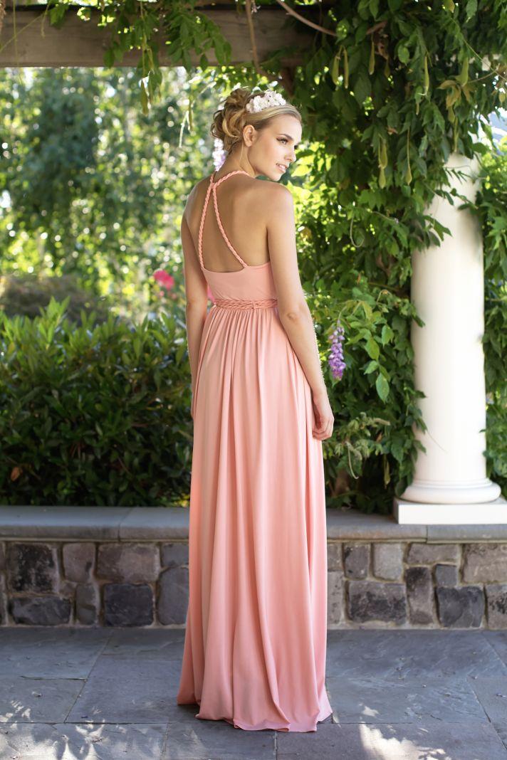 Pink floor length bridesmaids dress back