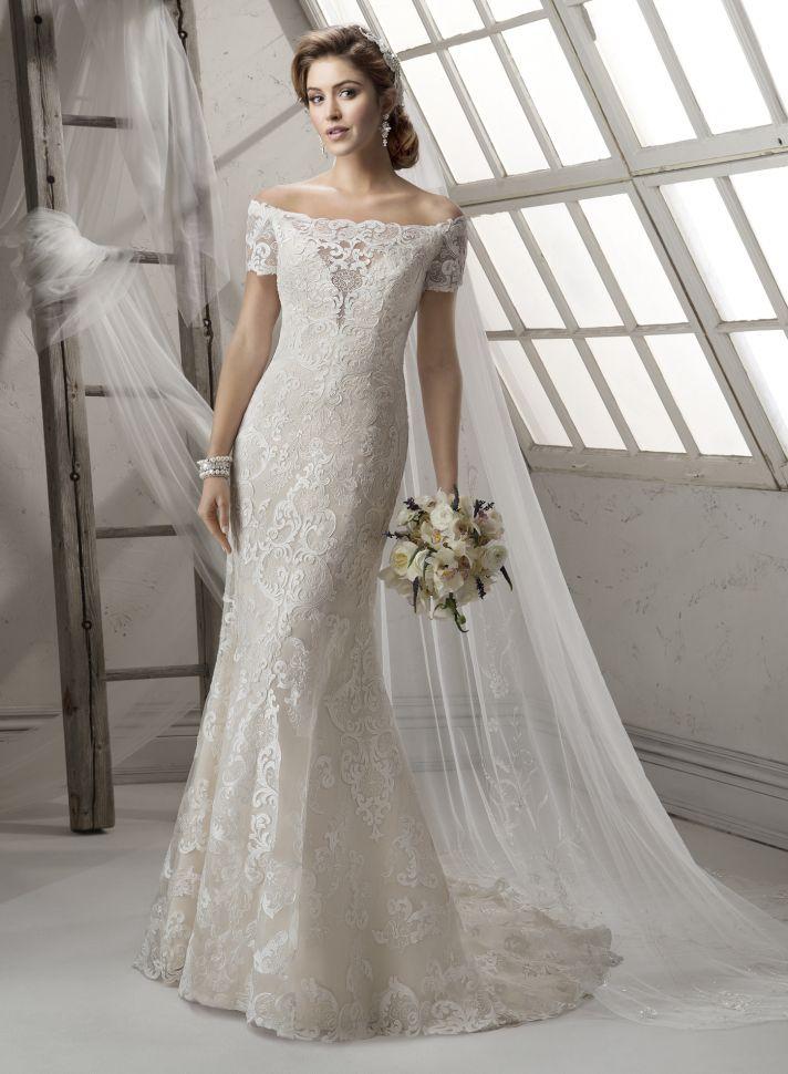 Illusion Off the Shoulder Neckline Wedding Gown