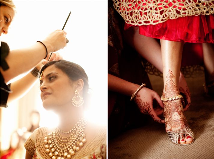 multi cultural weddings indian bride red nails gold wedding<br /> jewelry