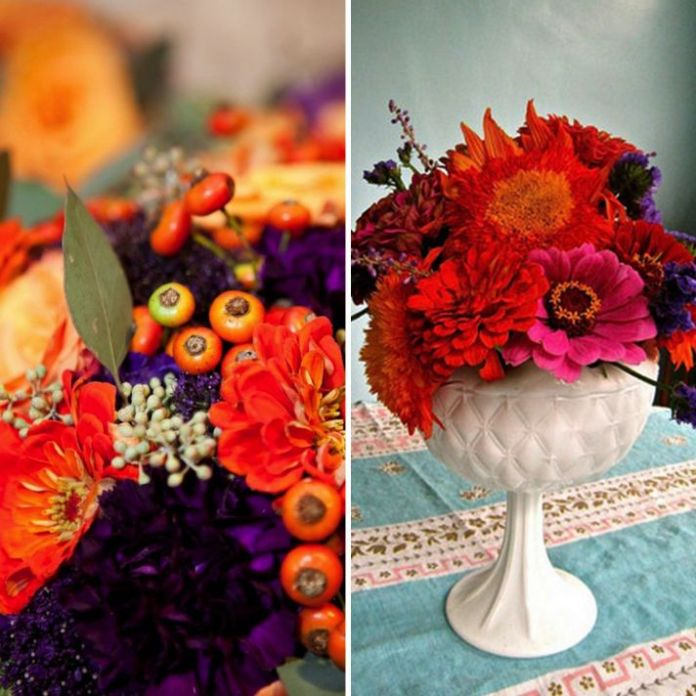 orange and purple zinnia wedding flowers