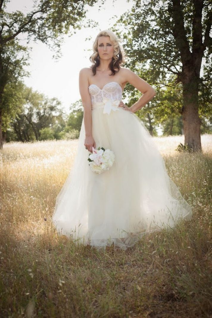 Lace Bustier and Tulle Train