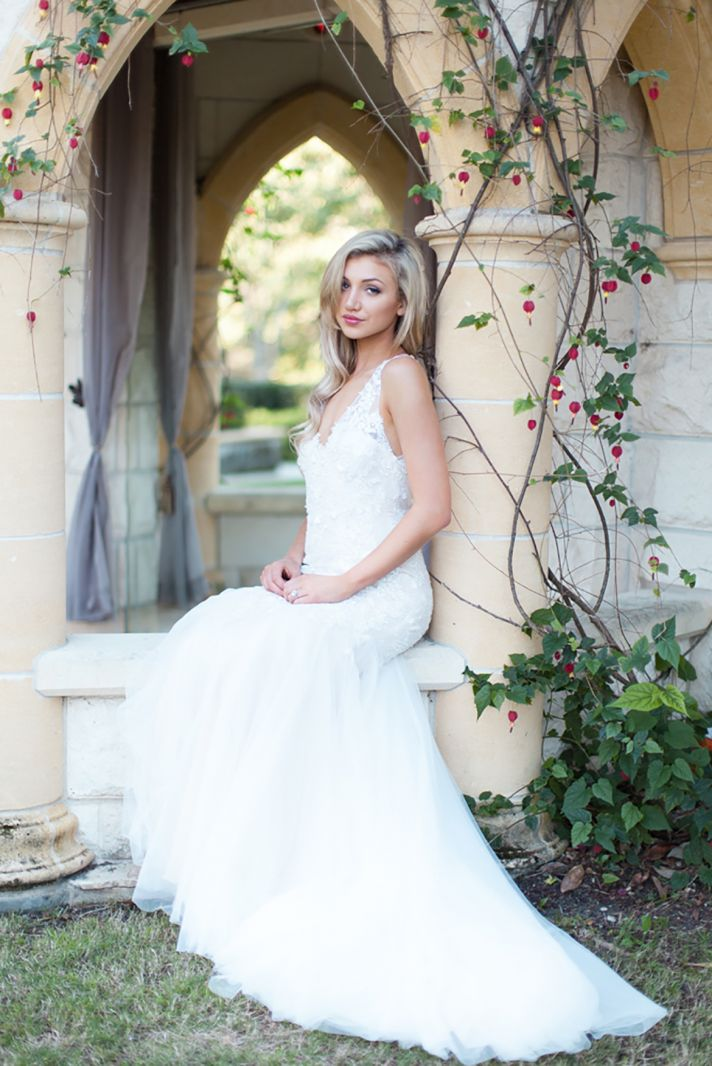 Dreamy Cara Wedding Dress with Handmade Lace and Flower Applique