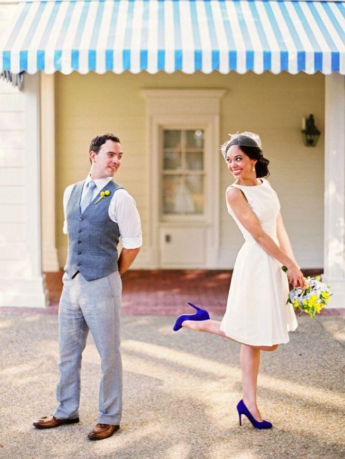 Blue Wedding Shoes on an Adorable Bride