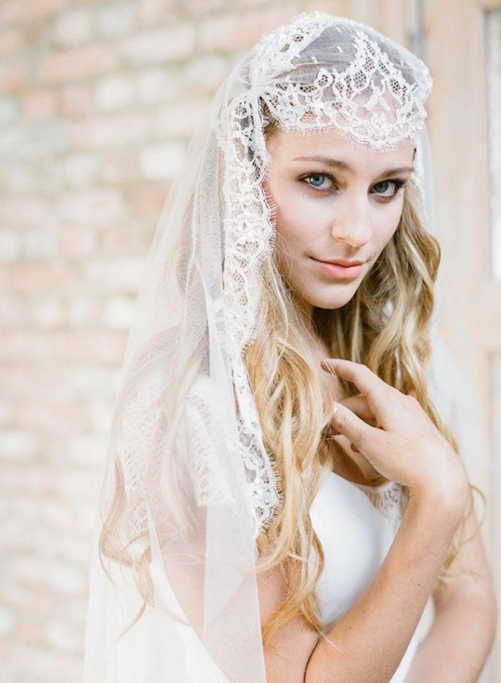 Lace on Lace Juliet Cap Bridal Veil