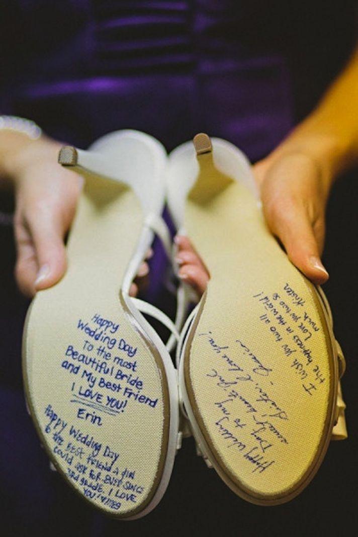 Blue Writing on Wedding Shoe