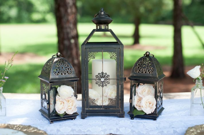 Lovely Lantern and White Roses as Centerpieces