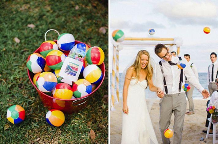 Memorable Wedding Send-Off With Beach Balls