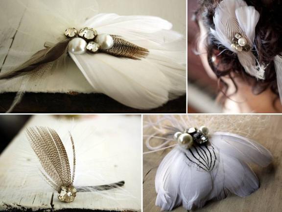 Romantic bridal hair accessories- handmade feather flower fascinators