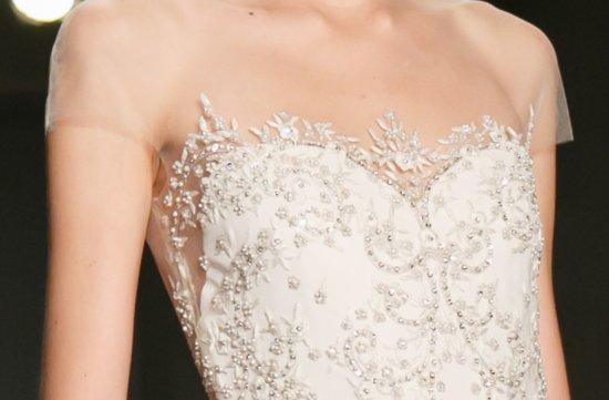 Sheer Beaded Wedding Dress Reem Acra Fall 2013 Delicate