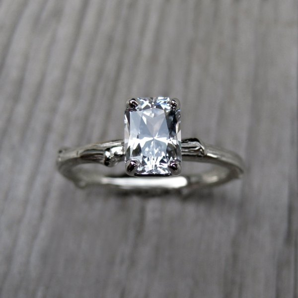 Emerald Cut Engagement Ring White Sapphire