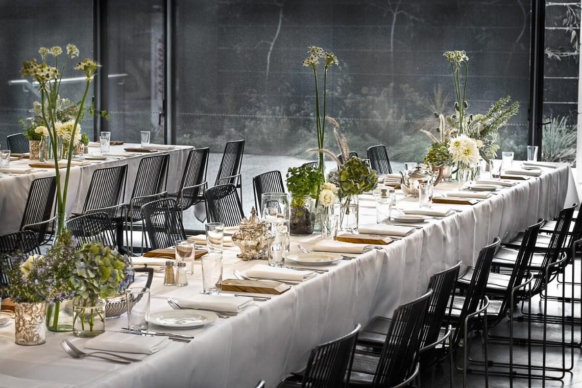 Urban wedding reception venue with modern minimal decor ...