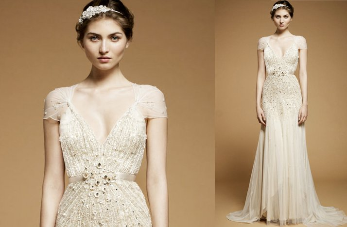 Jenny Packham 2012 Wedding Dress With Cap Sleeves- 1
