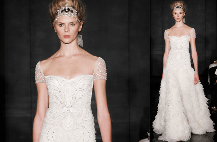 Cap Sleeves Wedding Dresses, 2012- Reem Acra, Sheer Beaded