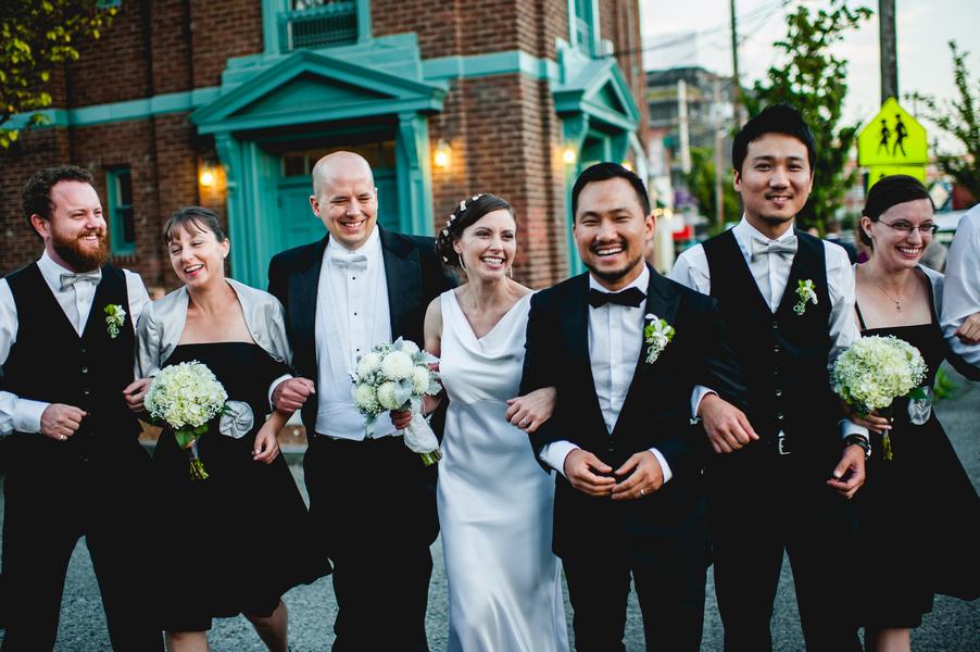 Bride Wears Simple White Silk Wedding Dress With Draped
