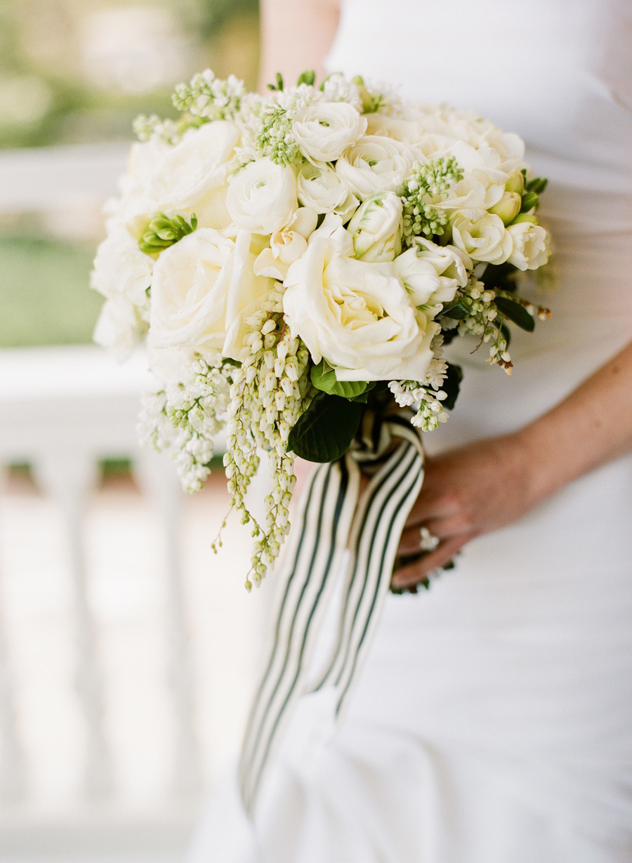 Classic Ivory Wedding Bouquet With Cream And Green Striped