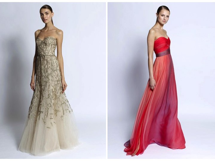 Monique Lhuillier Gowns- Metallic Gold A-line Wedding